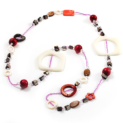 Coral, Beige Shell & Wood Bead Long Necklace - 90cm Length