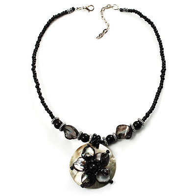 Jet Black Glass, Shell & Mother of Pearl Floral Choker Necklace (Silver Tone)