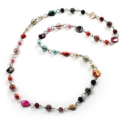 Multicoloured Long Shell Composite & Imitation Pearl Bead Silver Tone Necklace - 120cm Long - main view