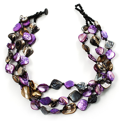 3 Strand Purple & Black Shell - Composite Bead Necklace - main view