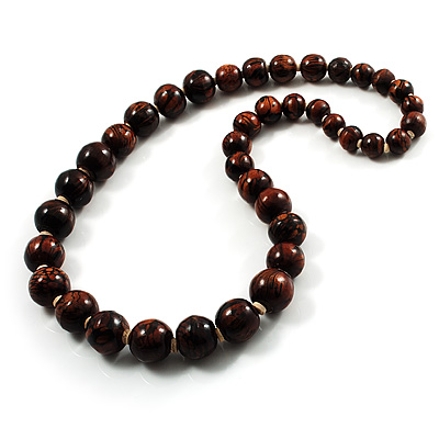 Animal Print Wooden Bead Necklace (Brown & Black) - 70cm L - main view