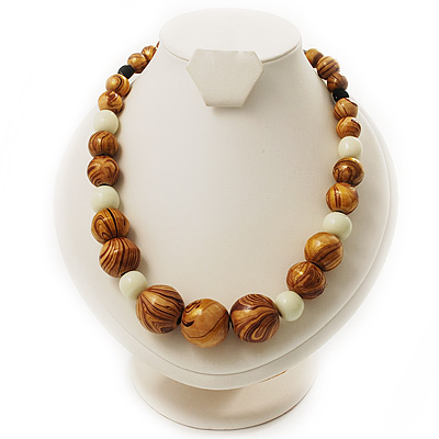 Wood & Ceramic Graduated Bead Necklace (Light Brown, Cream & Black) - 44cm L/ 3cm Ext