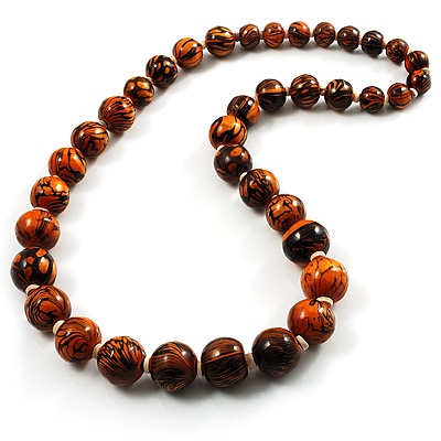 Long Graduated Wooden Bead Colour Fusion Necklace (Light Brown & Black) - 64cm L