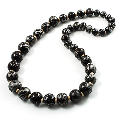 Animal Print Wooden Bead Necklace (Black & Metallic Silver) - 68cm Length