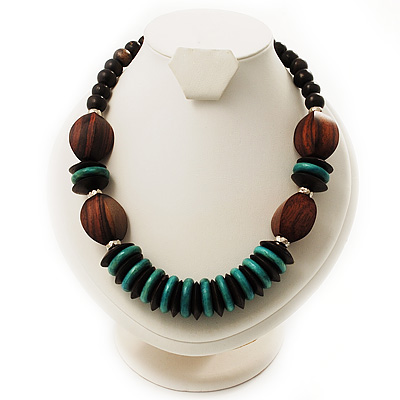 Chunky Beaded Necklace (Brown & Green)