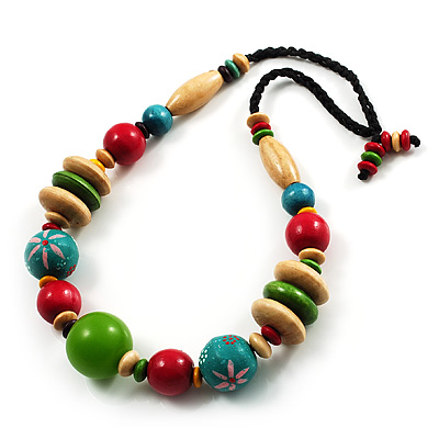 Multicoloured Wood Bead Cotton Cord Necklace - 60cm L