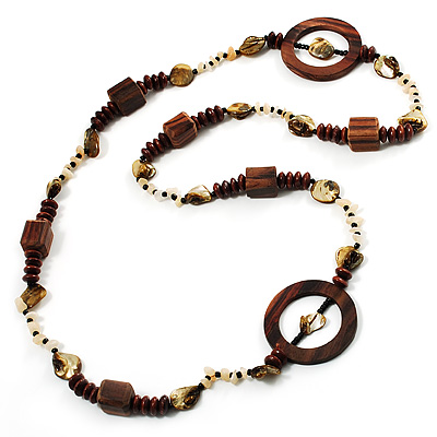 Long Wood, Shell & Glass Bead Necklace - 108cm Length