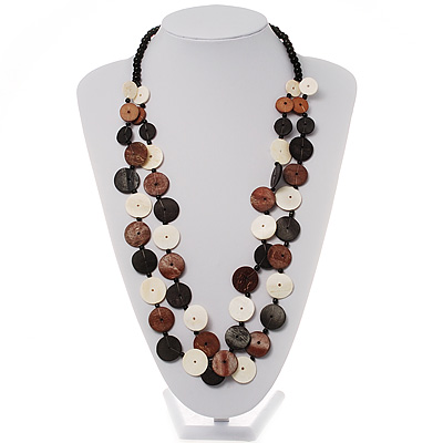 2 Strand Long Wood and Plastic Bead Necklace (Dark Brown & Cream) - main view