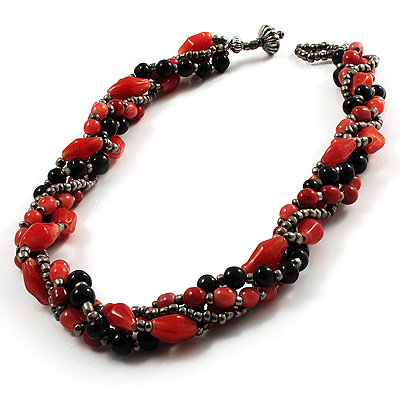 4 Strand Twisted Glass And Ceramic Choker Necklace (Black, Carrot Orange & Metallic Silver) - 48cm L