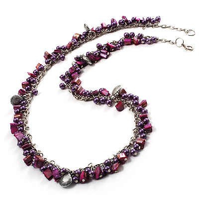 Purple Bead & Shell Long Necklace (Burn Silver Tone) - main view