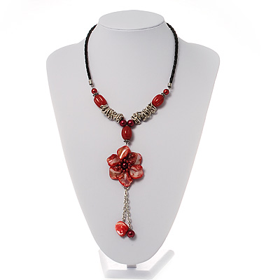 Coral Red Shell Composite Floral Tassel Leather Cord Necklace - main view