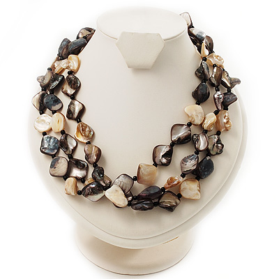 3 Strand Antique White & Black Shell - Composite Bead Necklace - main view