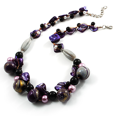 Purple Shell, Wood & Simulated Pearl Bead Cluster Necklace