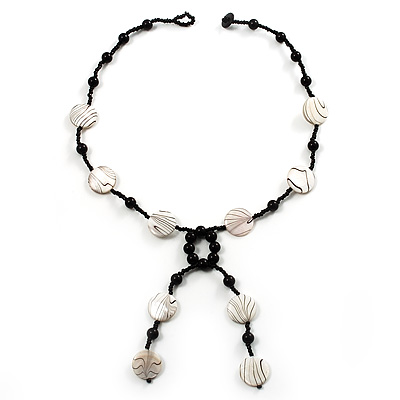 Glass & Shell Bead Tassel Necklace (Black & White) - main view