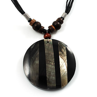Round Stripy Shell Cotton Cord Pendant Necklace - main view