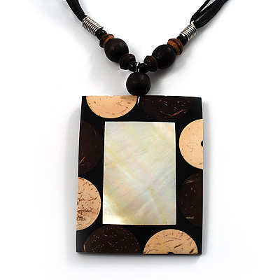 Square Mother of Pearl Cotton Cord Pendant Necklace