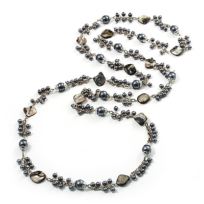 Ash Grey Shell & Imitation Pearl Bead Long Necklace - 140cm Length