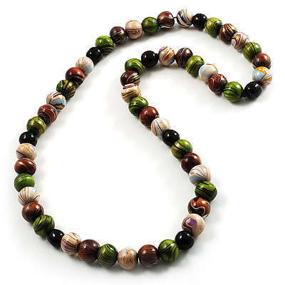 Wood Bead Necklace (White, Brown, Green & Black) - 74cm Length