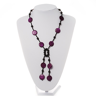 Glass & Shell Bead Tassel Necklace (Purple & Black) - main view