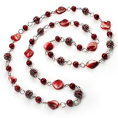 Red Long Shell Composite & Imitation Pearl Bead Silver Tone Necklace (120cm)
