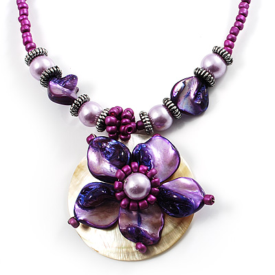 Purple & Magenta Glass, Shell & Mother of Pearl Floral Choker Necklace (Silver Tone) - main view