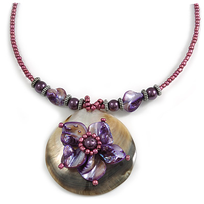 Purple & Magenta Glass, Shell & Mother of Pearl Floral Choker Necklace (Silver Tone)