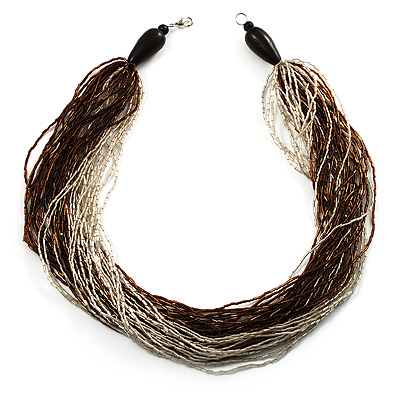 Chunky Multi-Strand Glass Bead Wood Necklace (Brown & Transparent/ White) - 58cm L - main view