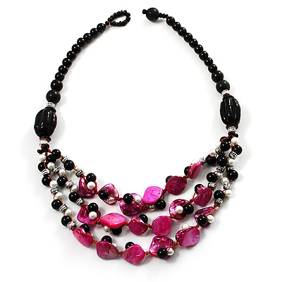 3 Strand Black, White & Magenta Shell & Bead Necklace