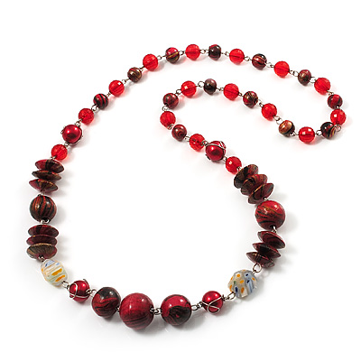 Red & Black Bead Necklace (Silver Tone) - 62cm