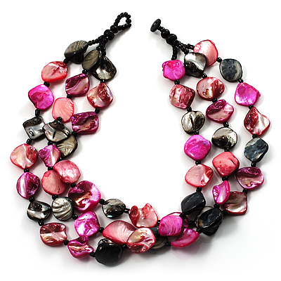 3 Strand Black & Magenta Shell - Composite Bead Necklace - main view