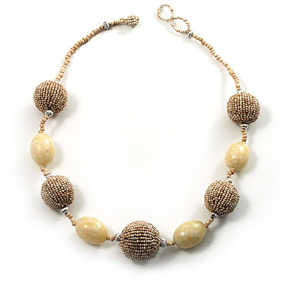Antique White Glass and Resin Bead Chunky Necklace - 50cm Long
