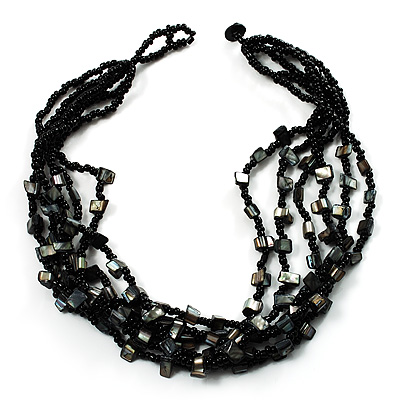 Multistrand Glass And Shell - Composite Necklace (Slate Black)