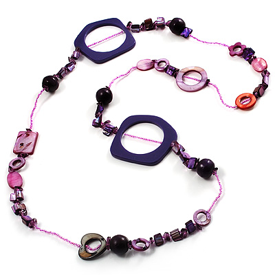 Purple Shell & Wood Bead Long Necklace - 90cm Length