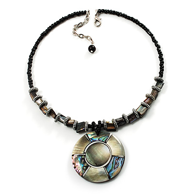Jet Black Glass, Shell & Mother of Pearl Medallion Choker Necklace (Silver Tone)