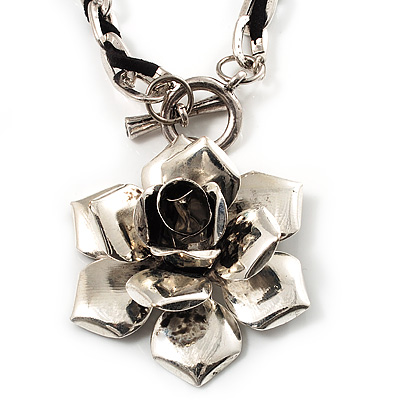 Burn Silver Rose Leather Necklace - main view