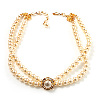 2 Strand Imitation Pearl Wedding Choker Necklace (Light Cream, Gold Tone)