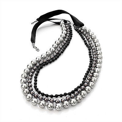 Long Modern Beaded Multi Strand Silk Cord Necklace (Black, Metallic, Silver) - 90cm Length - main view