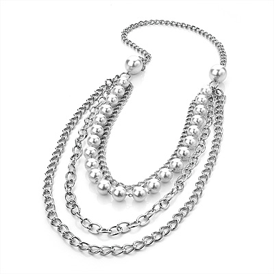 Long Multi Strand Imitation Pearl Necklace (Silver Tone) - 100cm
