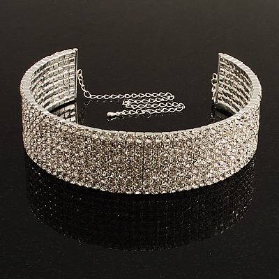 8-Row Austrian Crystal Choker Necklace (Silver&Clear)