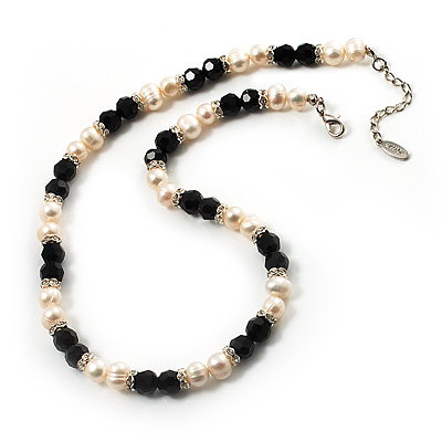 Light Cream Freshwater Pearl Necklace With Crystal Rings & Black Glass Beads (7mm)