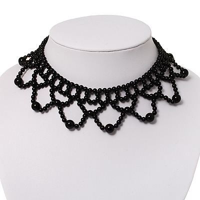 Black Acrylic Bead Flex Frill Choker - main view