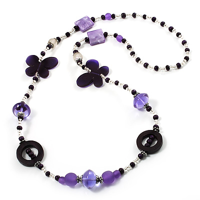 Long Romantic Butterfly Bead Necklace - 88cm Length