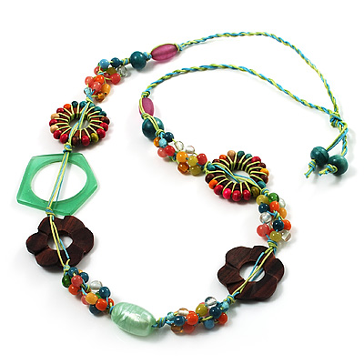 Multicoloured Floral Bead Cotton Cord Long Necklace -  70cm L - main view