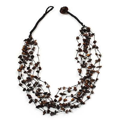 Brown Nugget Multistrand Cotton Cord Necklace