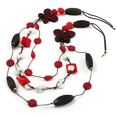 3-Strand Butterfly Cord Necklace (Red, Burgundy, White & Brown) - 90cm - main view