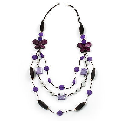 3-Strand Butterfly Cord Necklace (Purple, Lavender, White & Brown) - 90cm