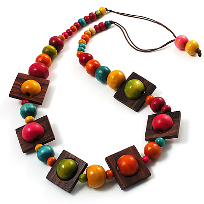 Multicoloured Square Wood Bead Cotton Cord Necklace - 82cm