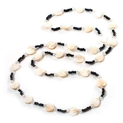 White Heart Shell & Bead Long Necklace - 100cm Length