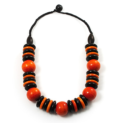 Chunky Beaded Cotton Cord Necklace (Black & Orange) - 64cm L