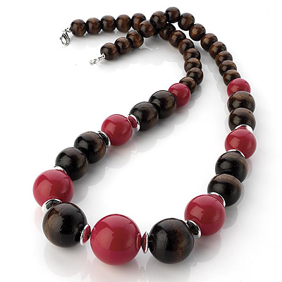 Long Chunky Brown/ Crimson Wood Bead Necklace - 60cm L